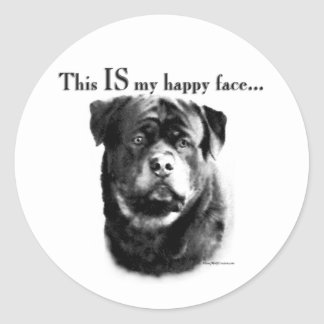 Rottweiler Happy Face Sticker