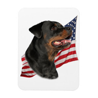 Rottweiler head with American Flag Rectangular Photo Magnet