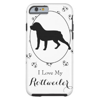 Rottweiler Hearts and Paw Prints Tough iPhone 6 Case