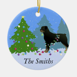 Rottweiler in the Christmas Forest Ceramic Ornament