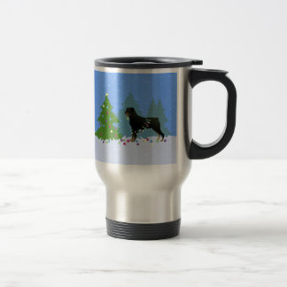 Rottweiler in the Christmas Forest Travel Mug