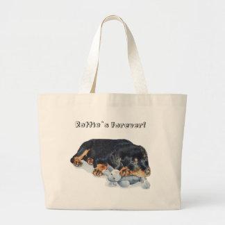 rottweiler lindo del perrito con el bolso del oso  bolsa tela grande