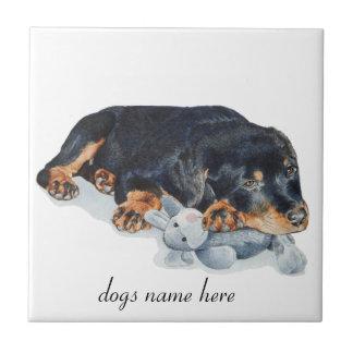 rottweiler lindo del perrito con la teja del arte