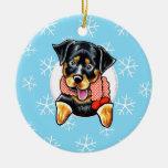 Rottweiler lo dejó nevar adorno navideño redondo de cerámica