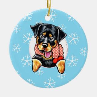 Rottweiler lo dejó nevar adorno redondo de cerámica
