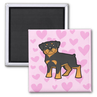 Rottweiler Love 2 Inch Square Magnet