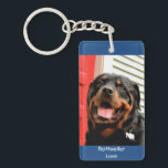 "Rottweiler Love Photo Keychain<br><div class=""desc"">My friends stunning Black and Tan Rottweiler named Dozer,  a very loving dog,  photo by SMB Photography</div>"