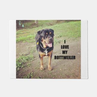rottweiler love w pic tan doormat
