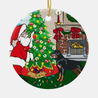 Rottweiler Merry Christmas Ceramic Ornament