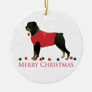 Rottweiler Merry Christmas Design Ceramic Ornament