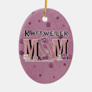 Rottweiler MOM Double-Sided Oval Ceramic Christmas Ornament