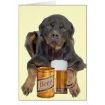 Rottweiler no toca mi cerveza tarjeta