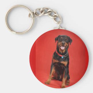 Rottweiler on Red Basic Round Button Keychain