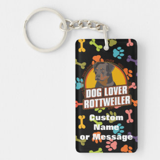 Rottweiler Paw Bones Dog Breed Custom Name Keychain
