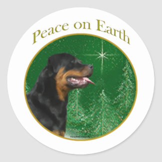 Rottweiler Peace Classic Round Sticker