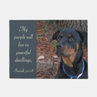 Rottweiler Peaceful Dwelling Scripture Doormat