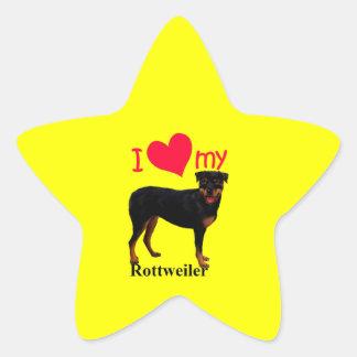 Rottweiler Pegatina Forma De Estrella