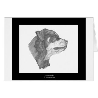 Rottweiler Pencil Art Notecard #2 DBD Stationery Note Card