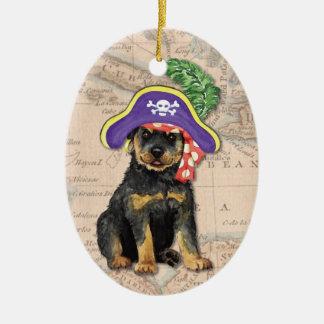 Rottweiler Pirate Ceramic Ornament