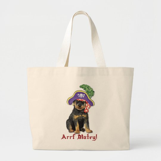 Rottweiler Pirate Large Tote Bag