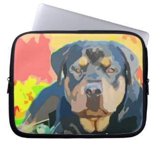 Rottweiler Portrait Digital Painting Computer Sleeve