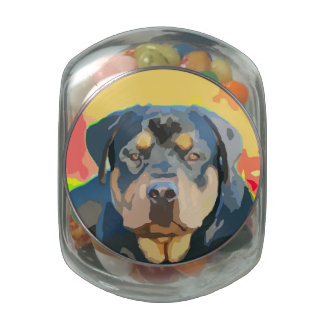 Rottweiler Portrait Digital Painting Jelly Belly Candy Jars