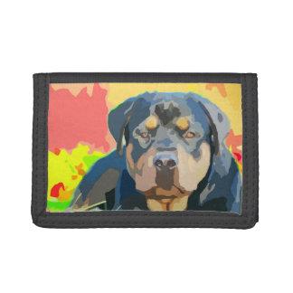 Rottweiler Portrait Digital Painting Tri-fold Wallet