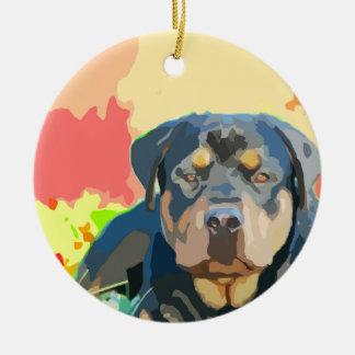 Rottweiler Portrait Painting Ceramic Ornament