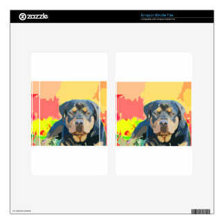 Rottweiler Portrait Painting Skin For Kindle Fire