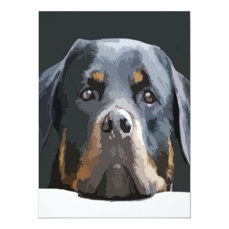 Rottweiler Portrait Vector Card