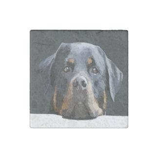 Rottweiler Portrait Vector Stone Magnet