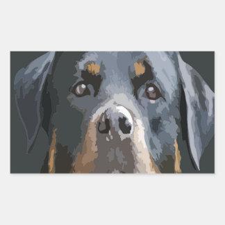 Rottweiler Portrait Vector Rectangular Sticker
