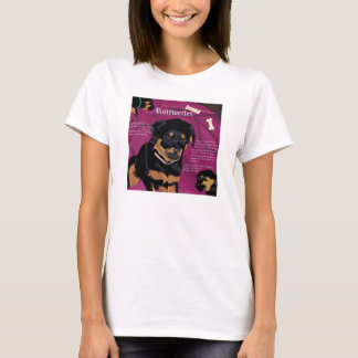 Rottweiler Pup womens baby doll tee white