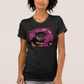 Rottweiler Pup womens petite tee black