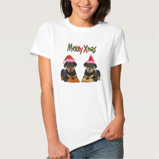 Rottweiler puppies santa hat T- Shirt