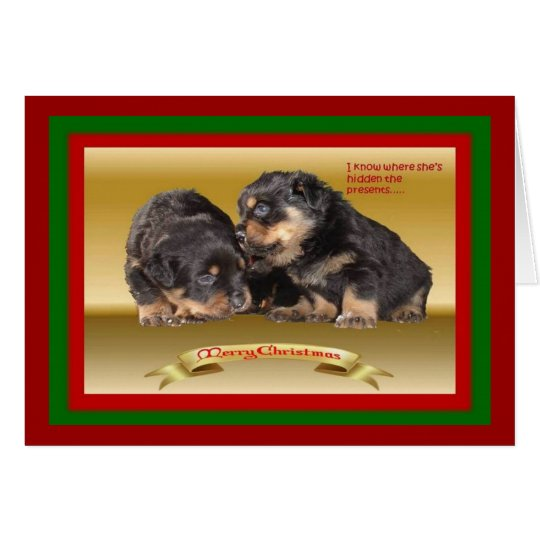 Rottweiler Puppy Christmas Wishes Card