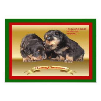 Rottweiler Puppy Christmas Wishes 3.5x5 Paper Invitation Card