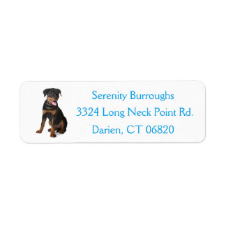 Rottweiler Puppy Dog Blue Canine Address Label