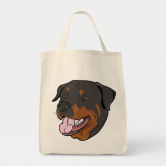 Rottweiler Puppy Dog Canvas Grocery Tote Bag