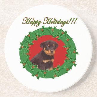 Rottweiler puppy drink coaster