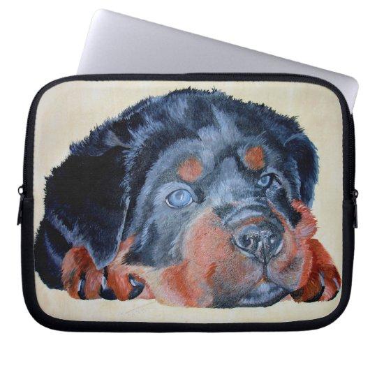 Rottweiler Puppy Portrait Computer Sleeve