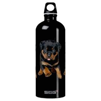 Rottweiler Puppy Running With Tongue Out Aluminum Water Bottle