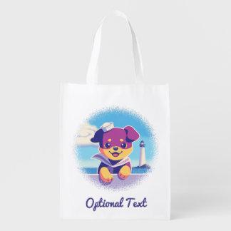 Rottweiler Puppy Sea Dog Sailor Reusable Grocery Bag