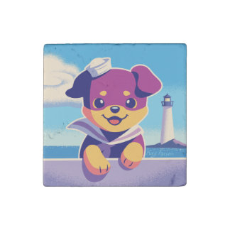 Rottweiler Puppy Sea Dog Sailor Stone Magnet