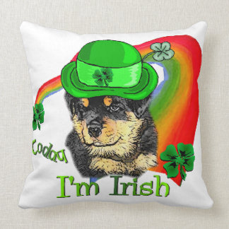Rottweiler Puppy St Pattys Throw Pillow