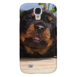 Rottweiler Puppy Trying To Climb Galaxy S4 Cover