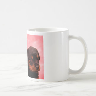 Rottweiler Puppy with Red and Yellow Flowers Coffee Mug