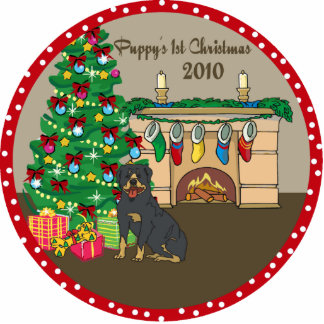 Rottweiler Puppy's 1st Christmas Ornament 2010