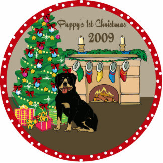 Rottweiler Puppy's First Christmas Ornament 2009