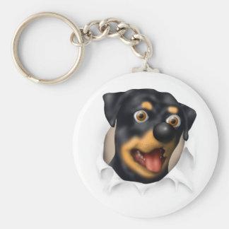 Rottweiler que revienta hacia fuera llavero personalizado